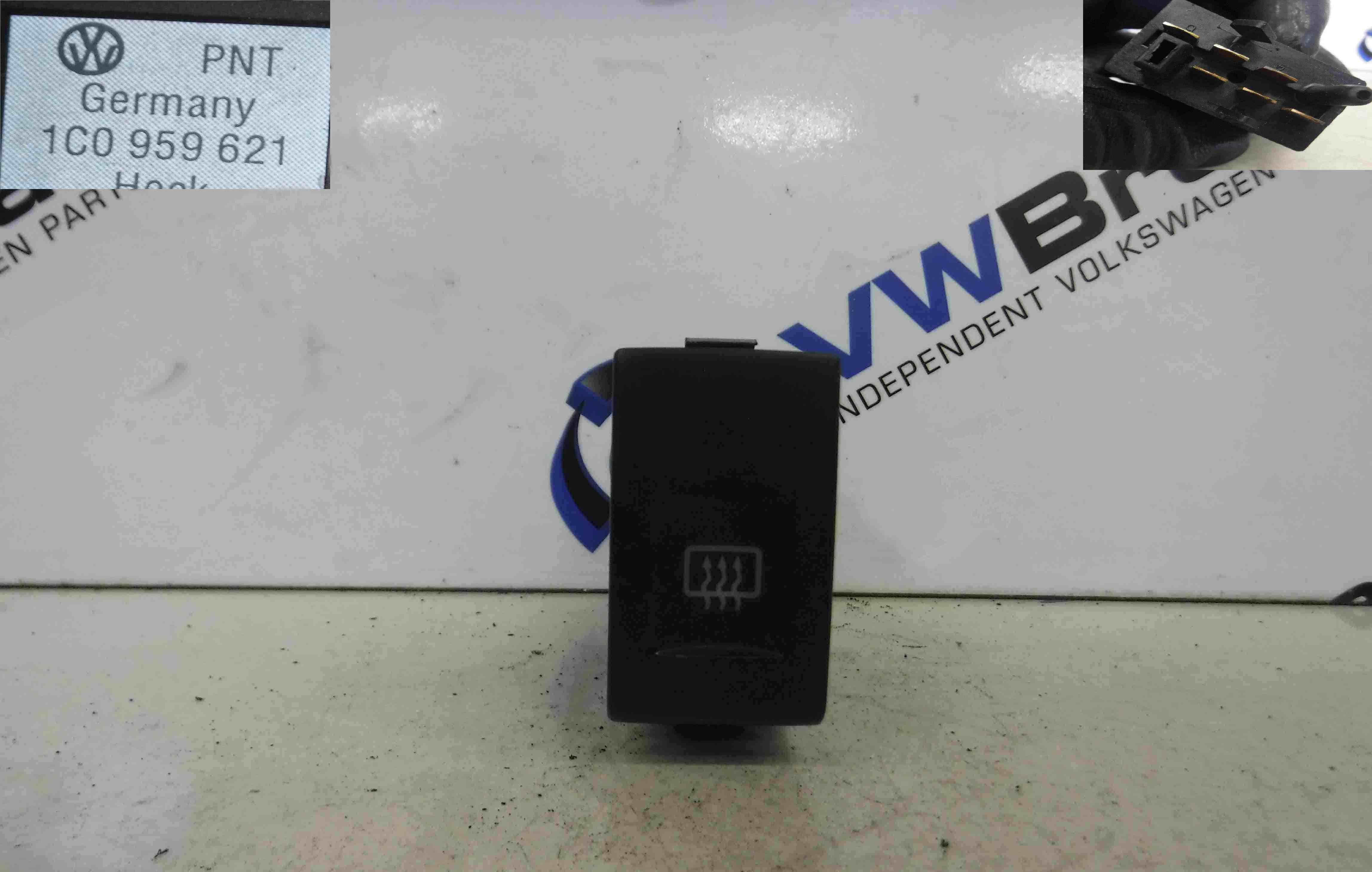 Volkswagen Beetle 1999-2006 Rear Heated Demister Switch Button 1c0959621