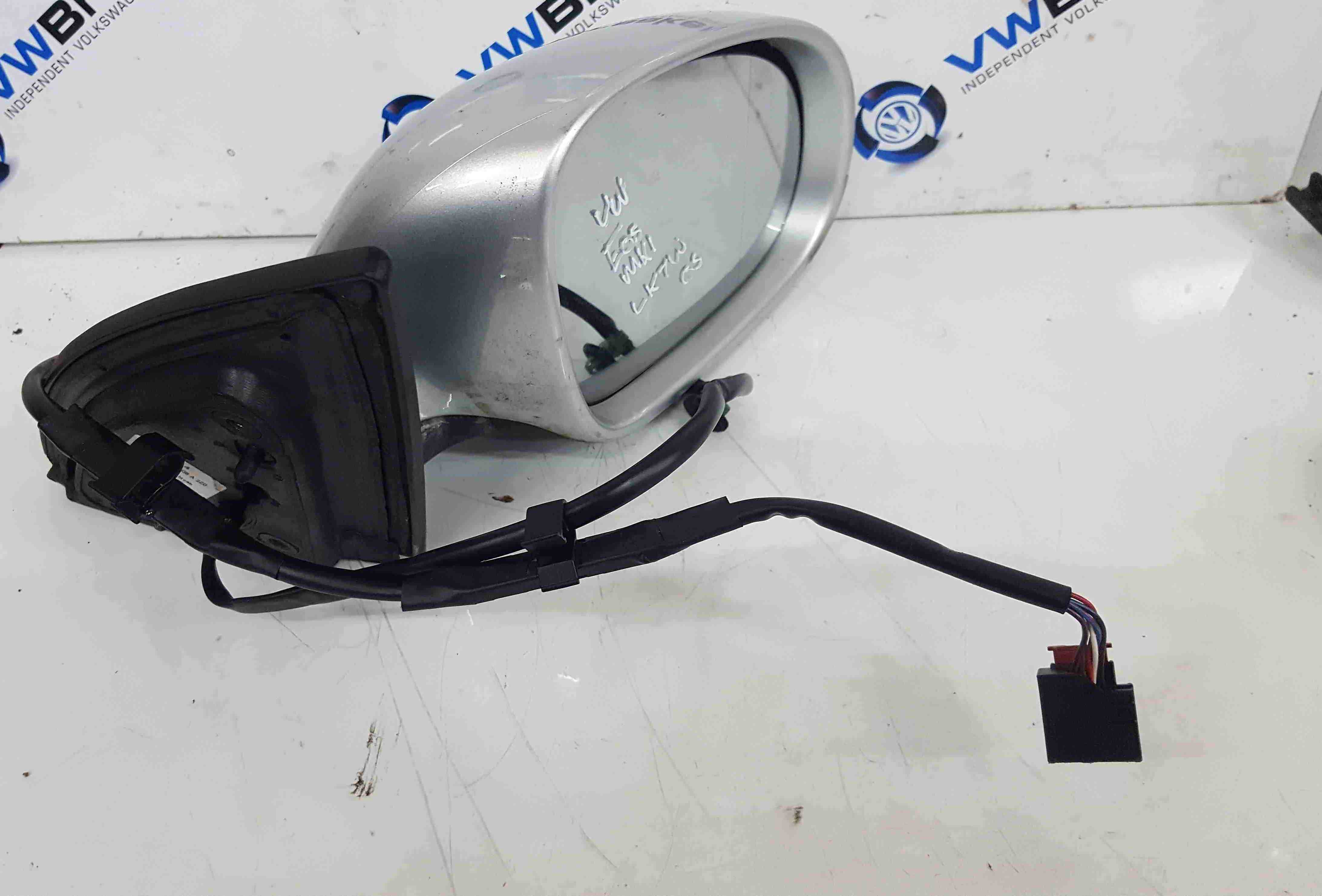 Volkswagen EOS 2005-2016 Drivers OS Wing Mirror Silver Blue LK7W 1Q2857508A