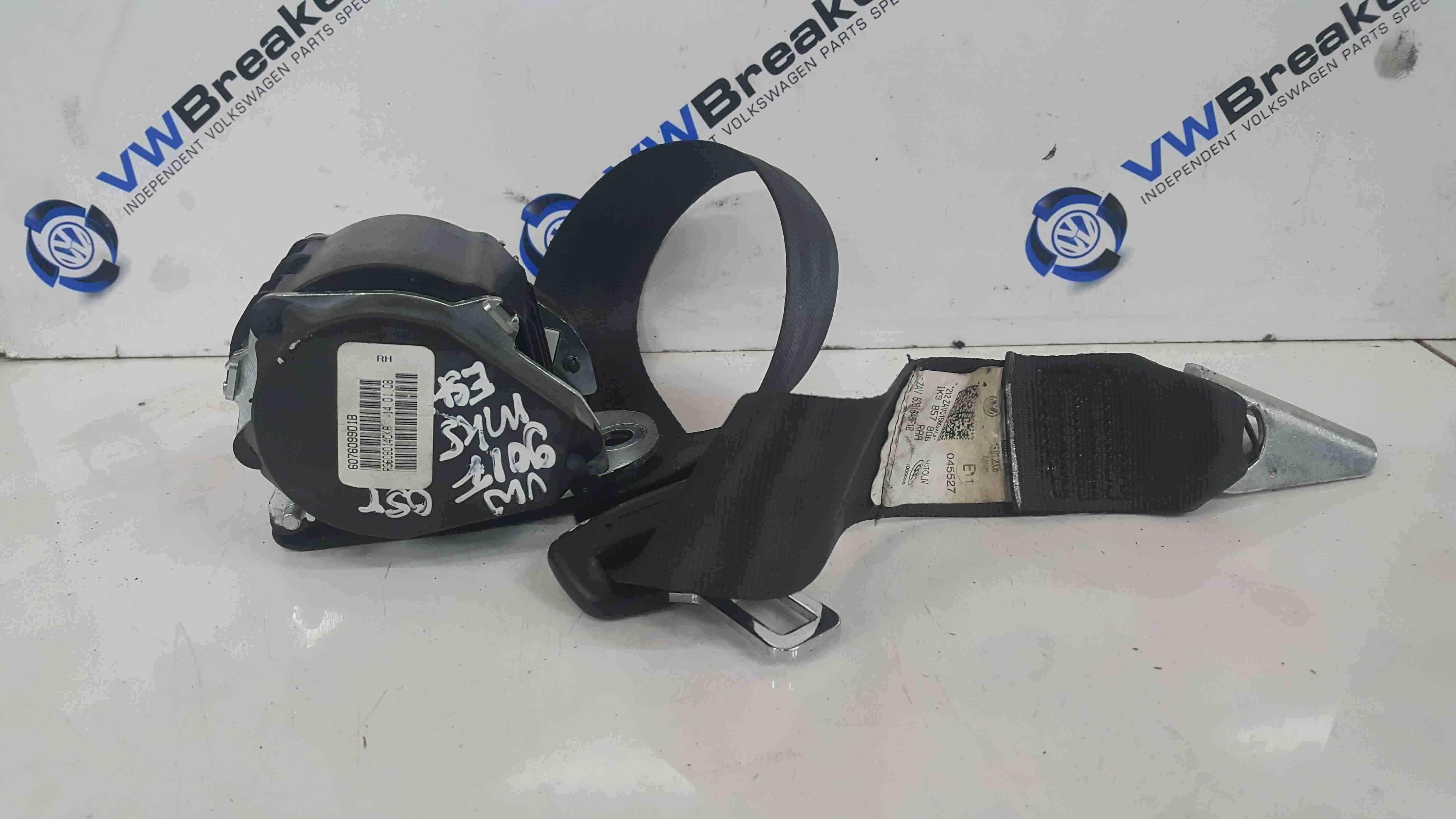 Volkswagen Golf Estate MK5 2003-2009 Drivers OSR Rear Seat Belt 607609901B