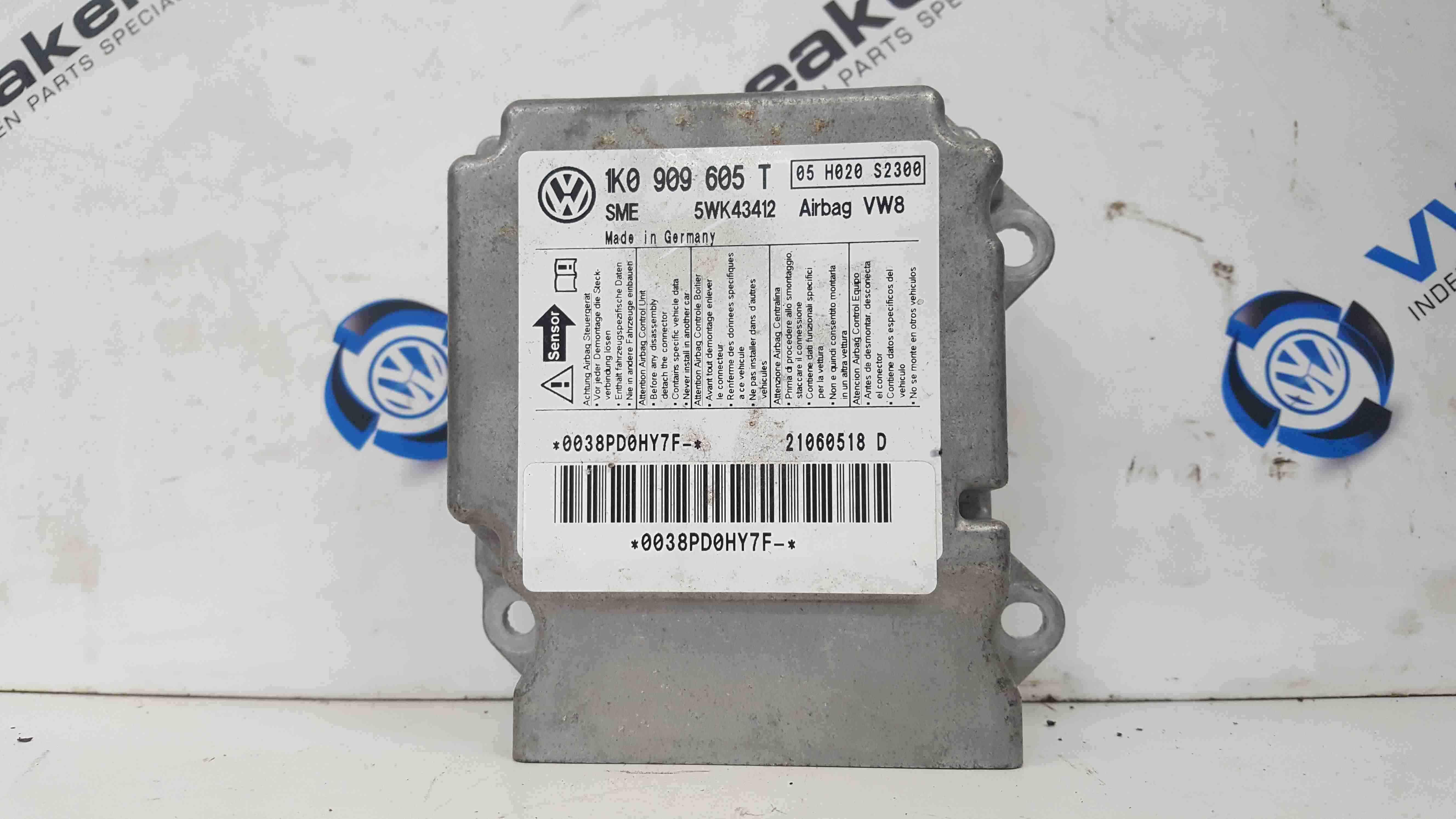 Volkswagen Golf MK5 2003-2009 Airbag ECU Module 1K0909605T