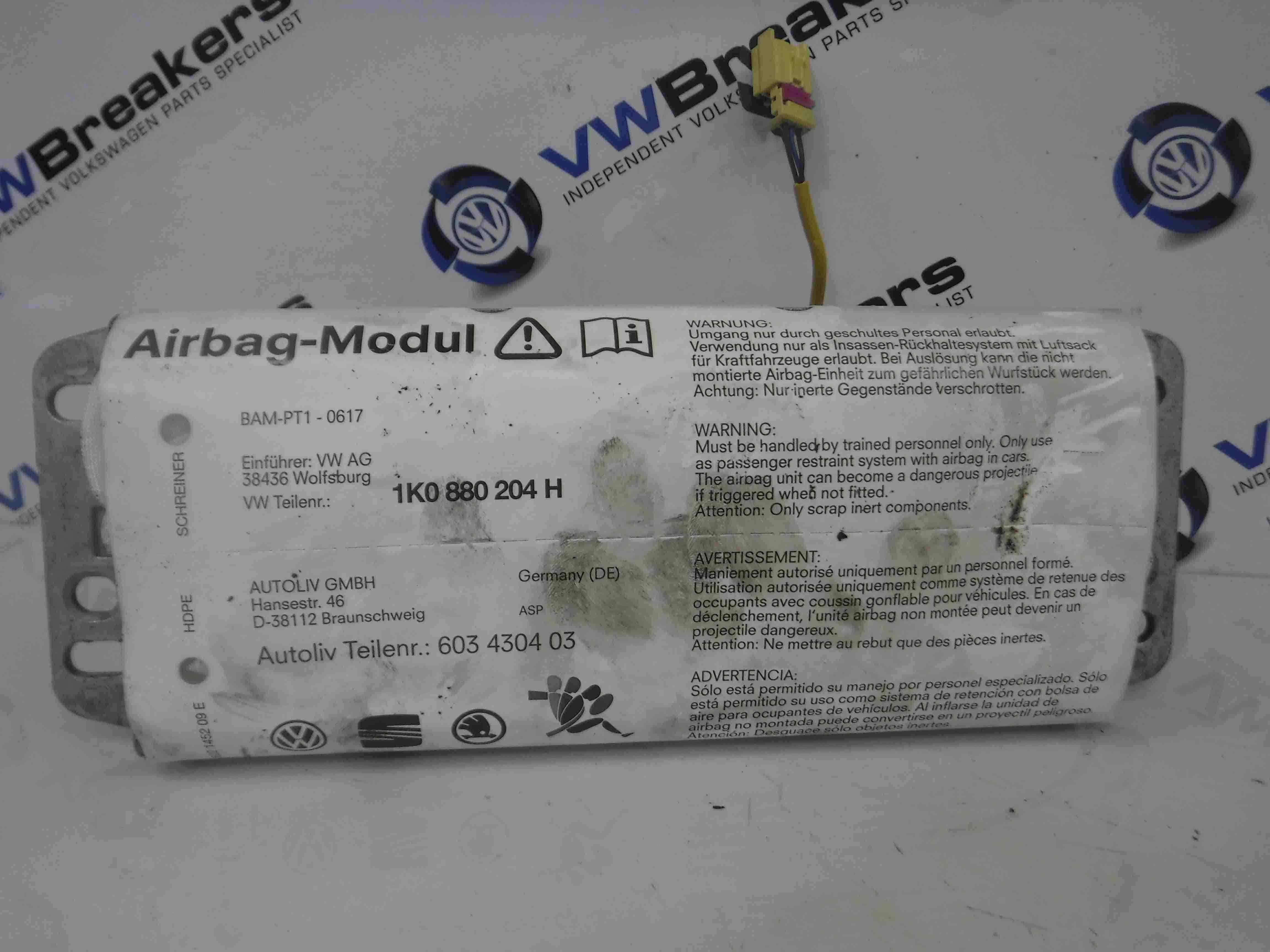 Volkswagen Golf MK5 2003-2009 Passenger NSF Front Dashboard Airbag 1K0880204H