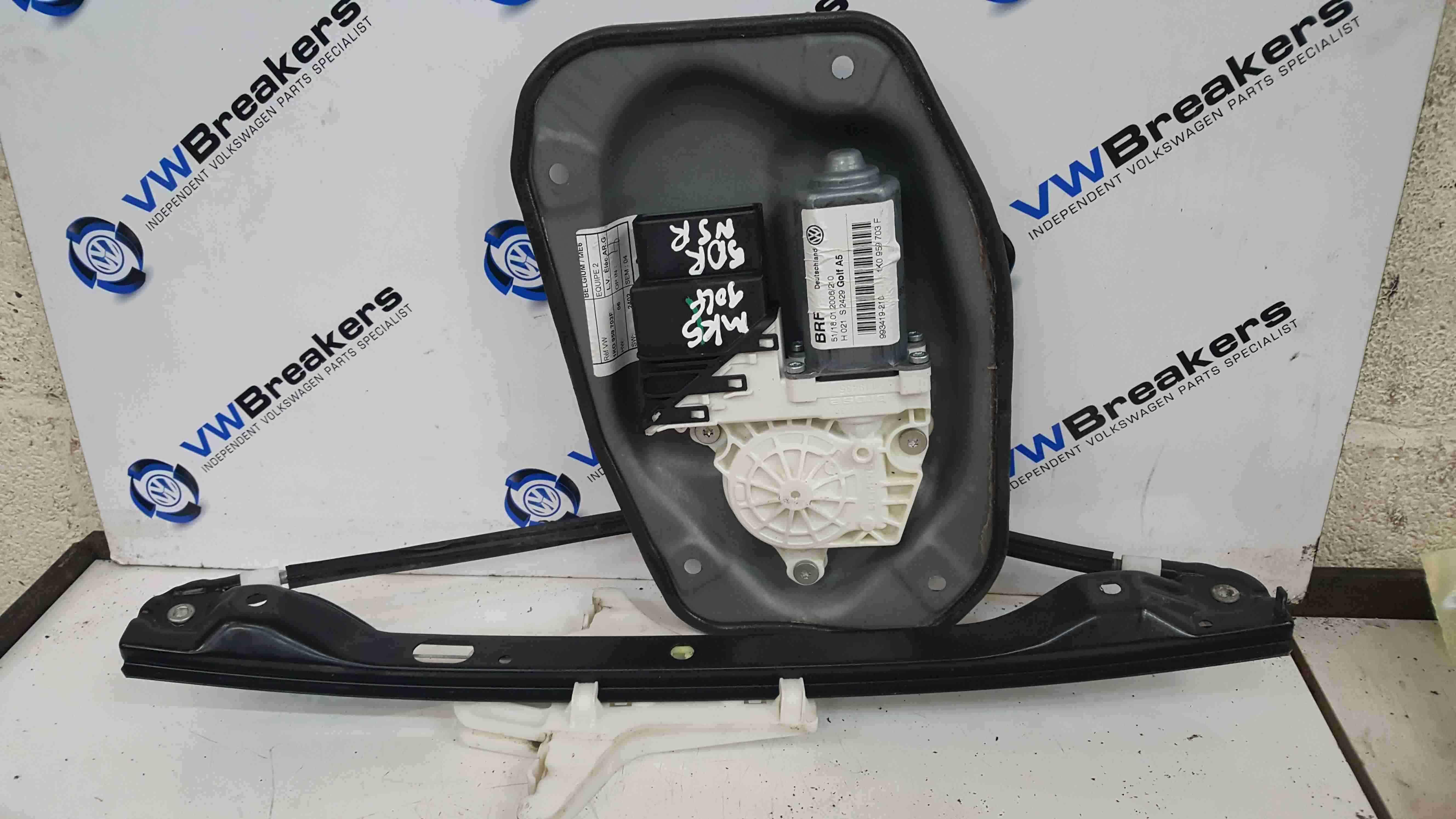 Volkswagen Golf MK5 2003-2009 Passenger NSR Rear Window Motor Regulator