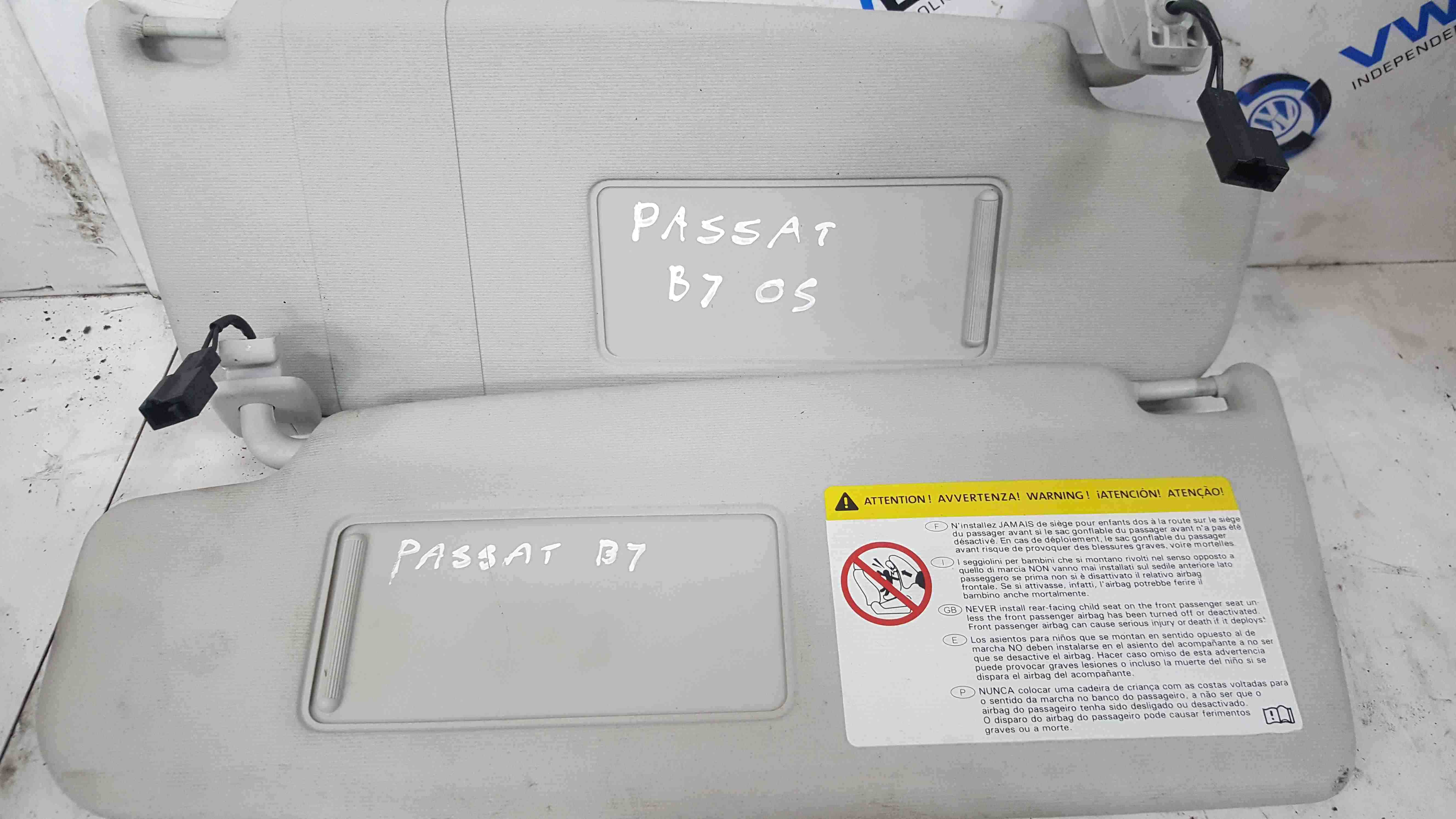 Volkswagen Passat B7 2010-2015 Sun Visor Pair