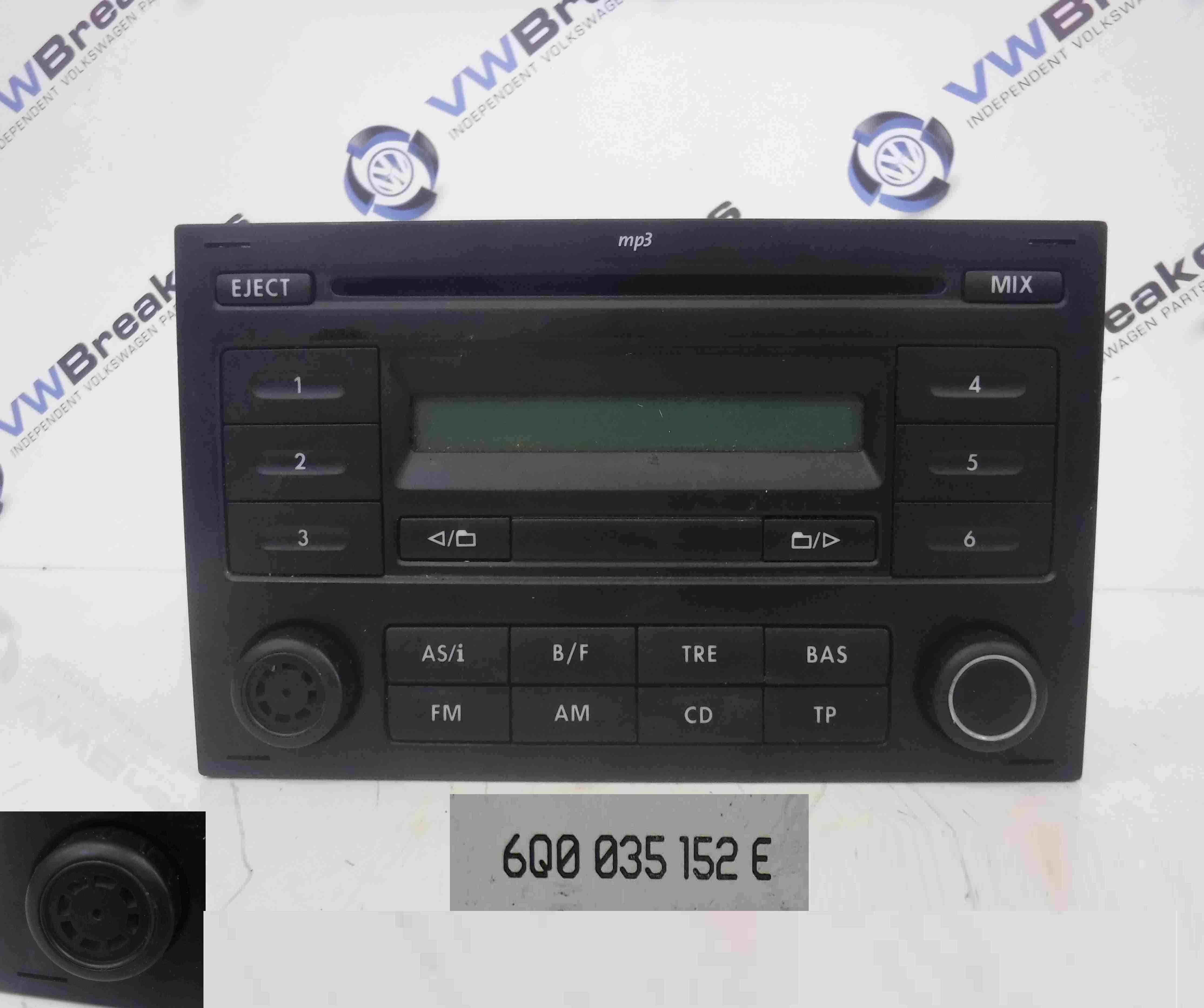 volkswagen polo 2006 2008 9n3 radio mp3 radio cd player. Black Bedroom Furniture Sets. Home Design Ideas