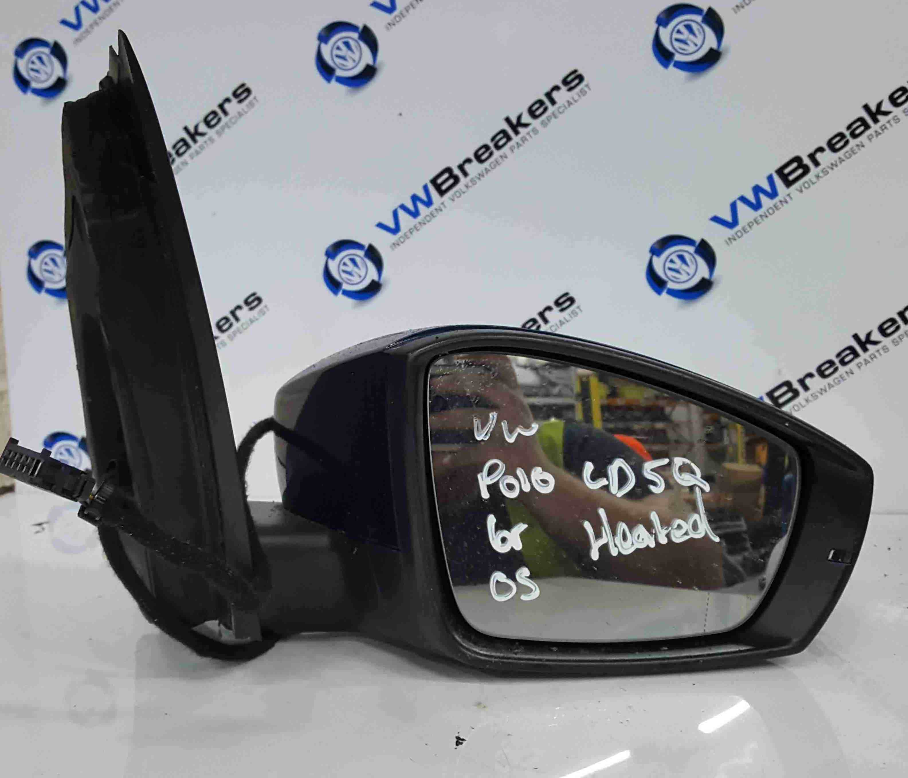 Volkswagen Polo 6R 2009-2014 Drivers OS Wing Mirror Blue LD5Q Heated