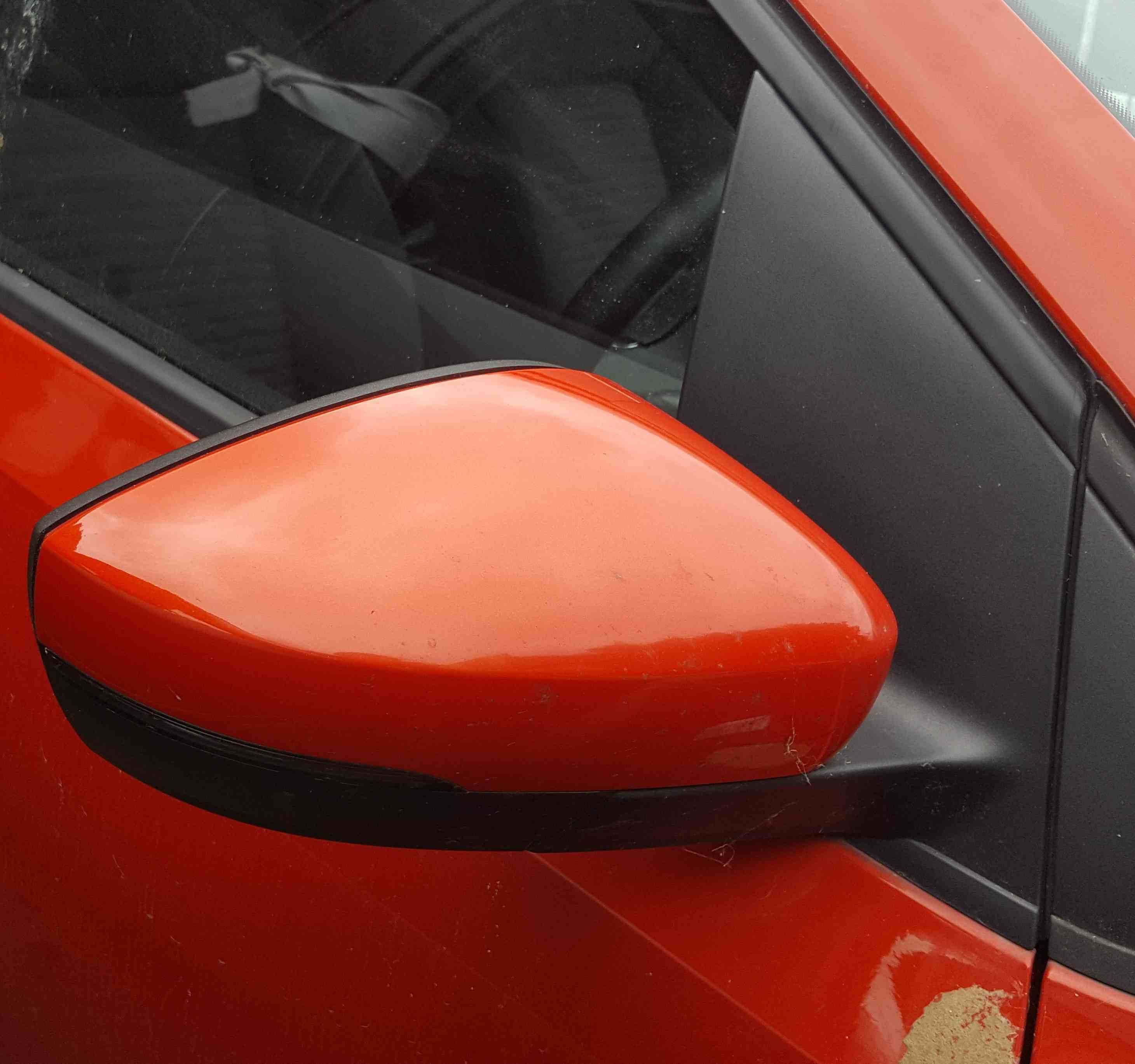 Volkswagen Polo 6R 2009-2014 Drivers OS Wing Mirror Orange LD2Z