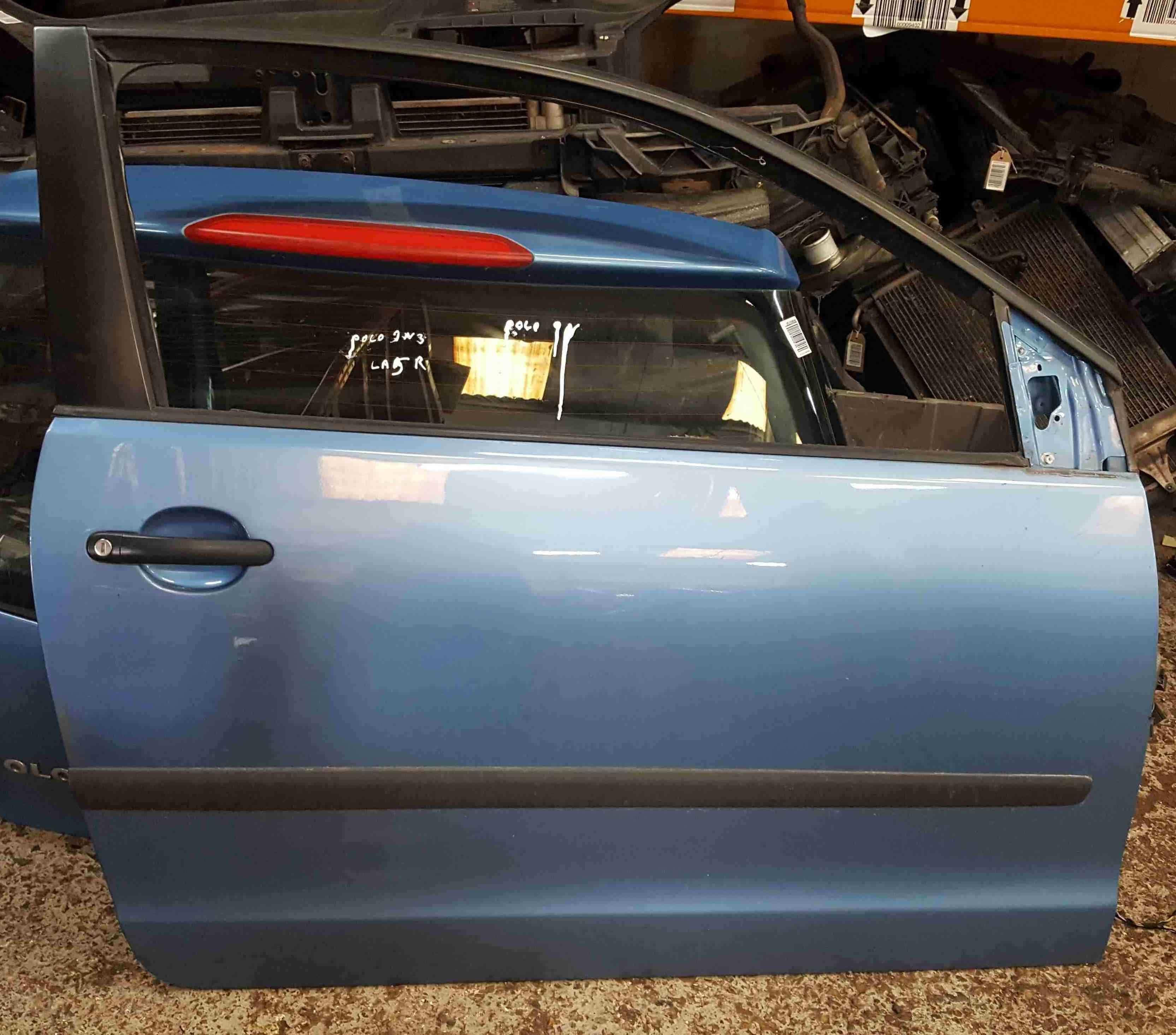 Volkswagen Polo 9N3 2006-2008 Drivers OSF Front Door Blue LA5R 3dr