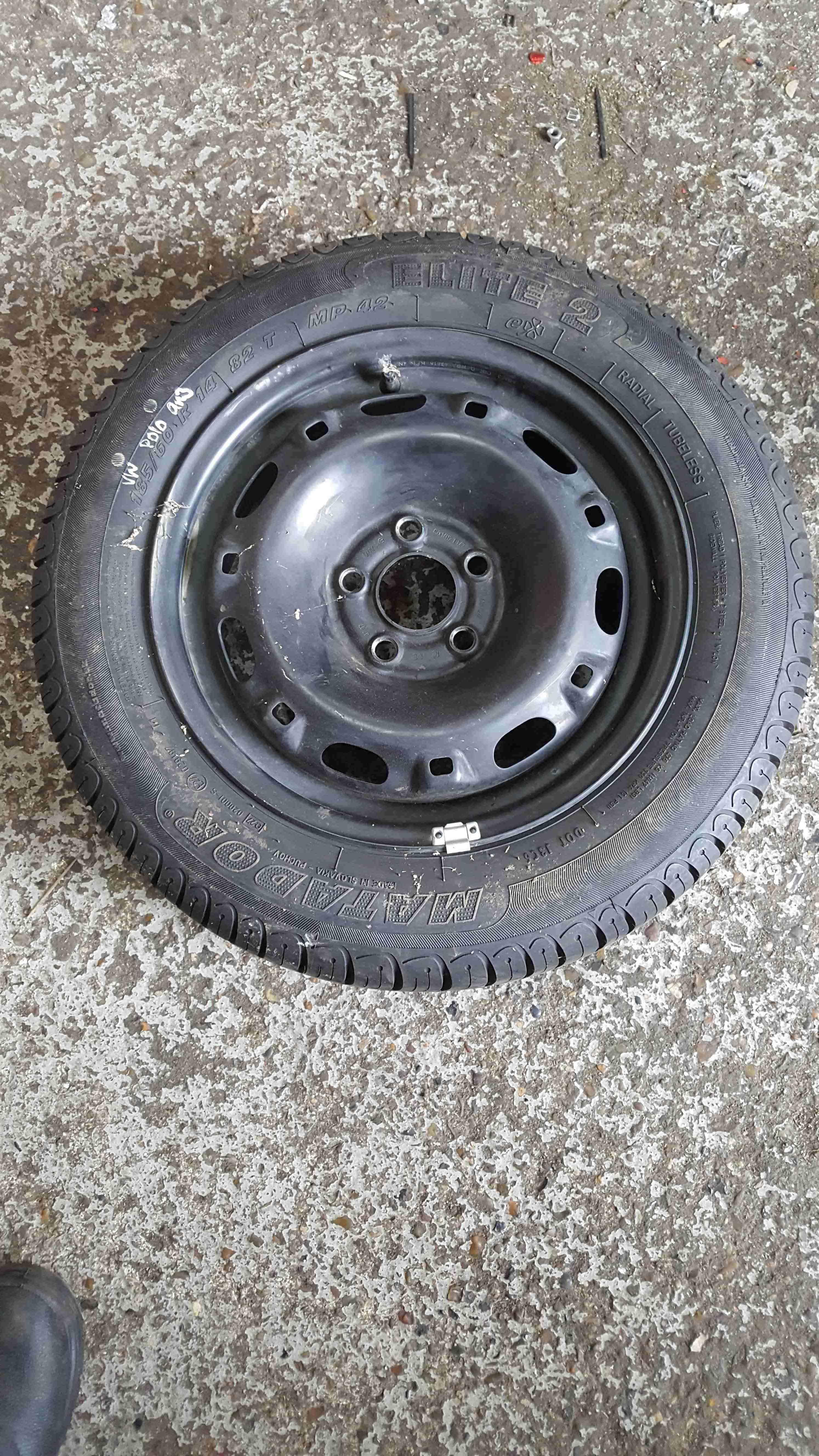 Volkswagen Polo 9N3 2006-2008 Steel Wheel Rim + Tyre 185 60 14 8mm