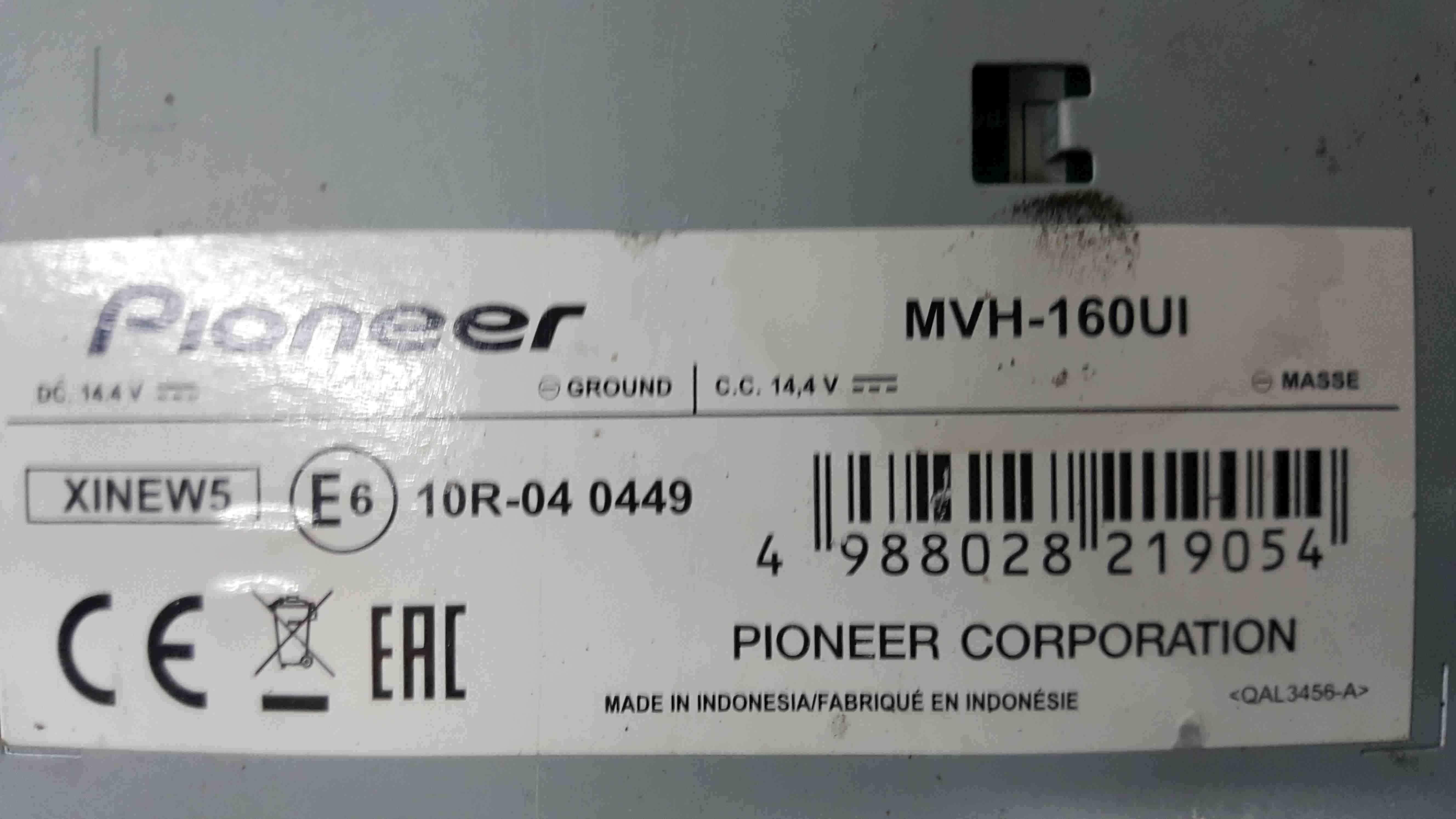 Pioneer Radio Cd Player USB Port MVH160UI 1998-2014