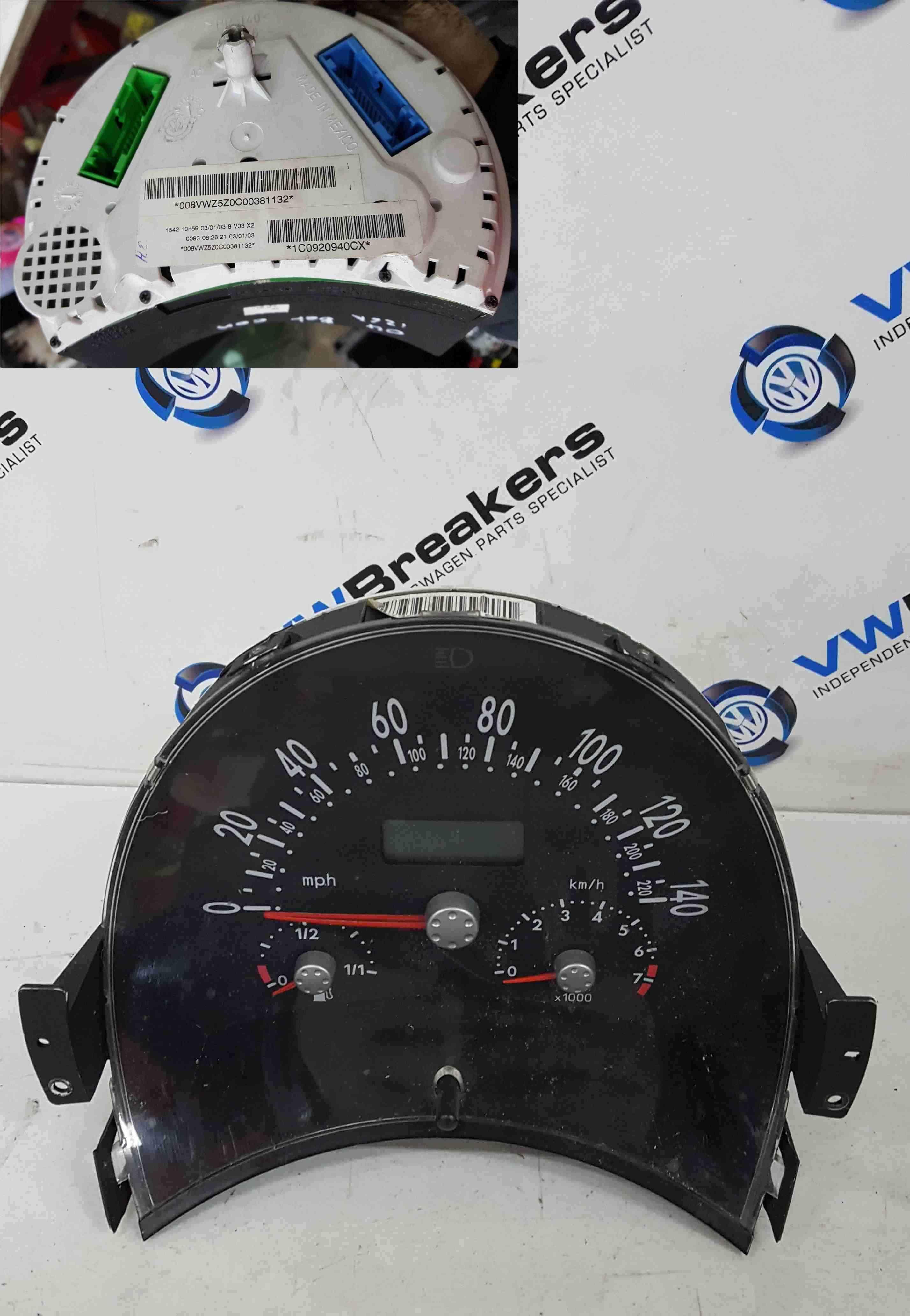 Volkswagen Beetle Convertible 2002-2006 Instrument Panel Dials Clocks 198K