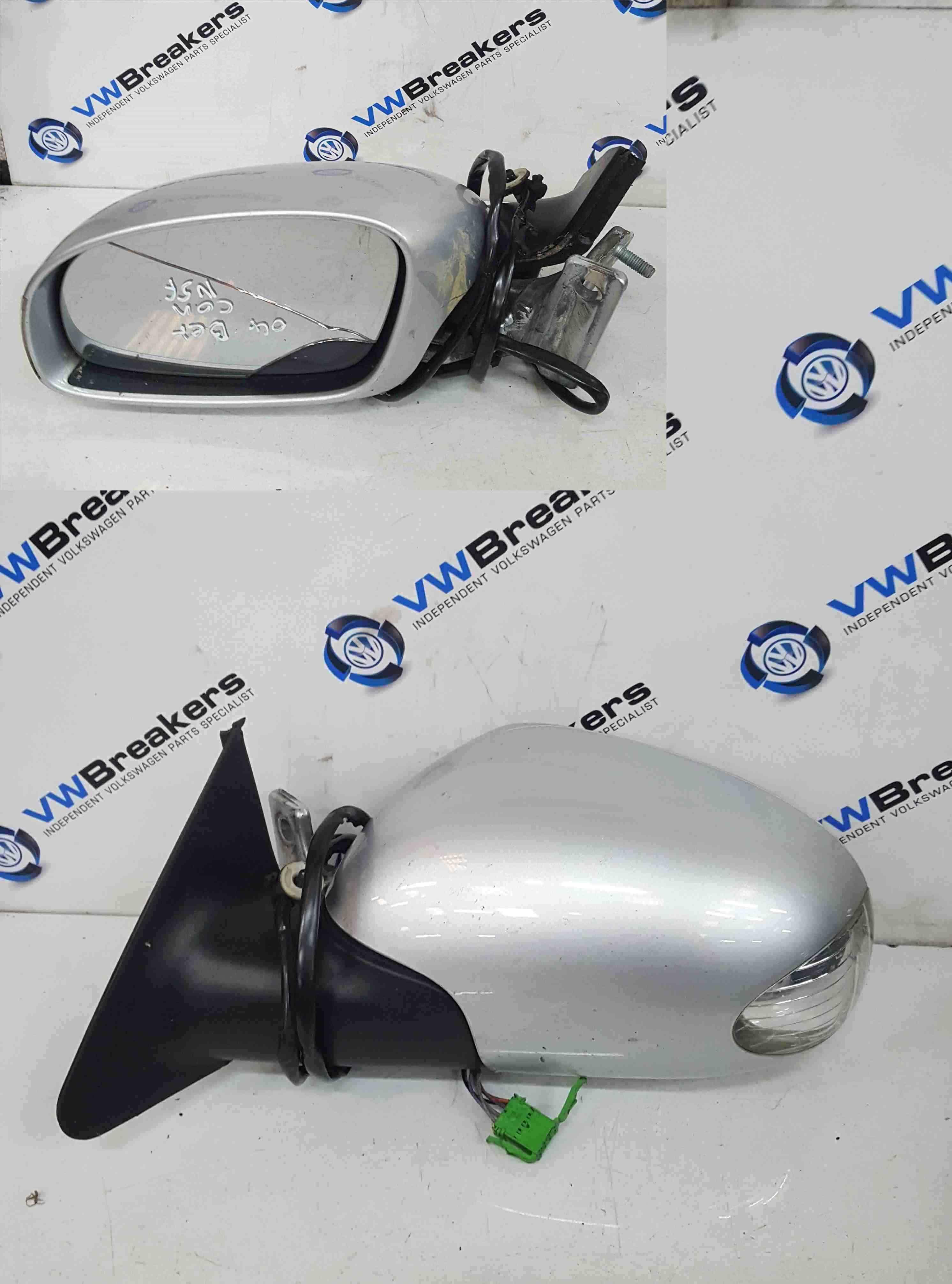 Volkswagen Beetle Convertible 2002-2006 Passenger NS Wing Mirror Silver LA7W