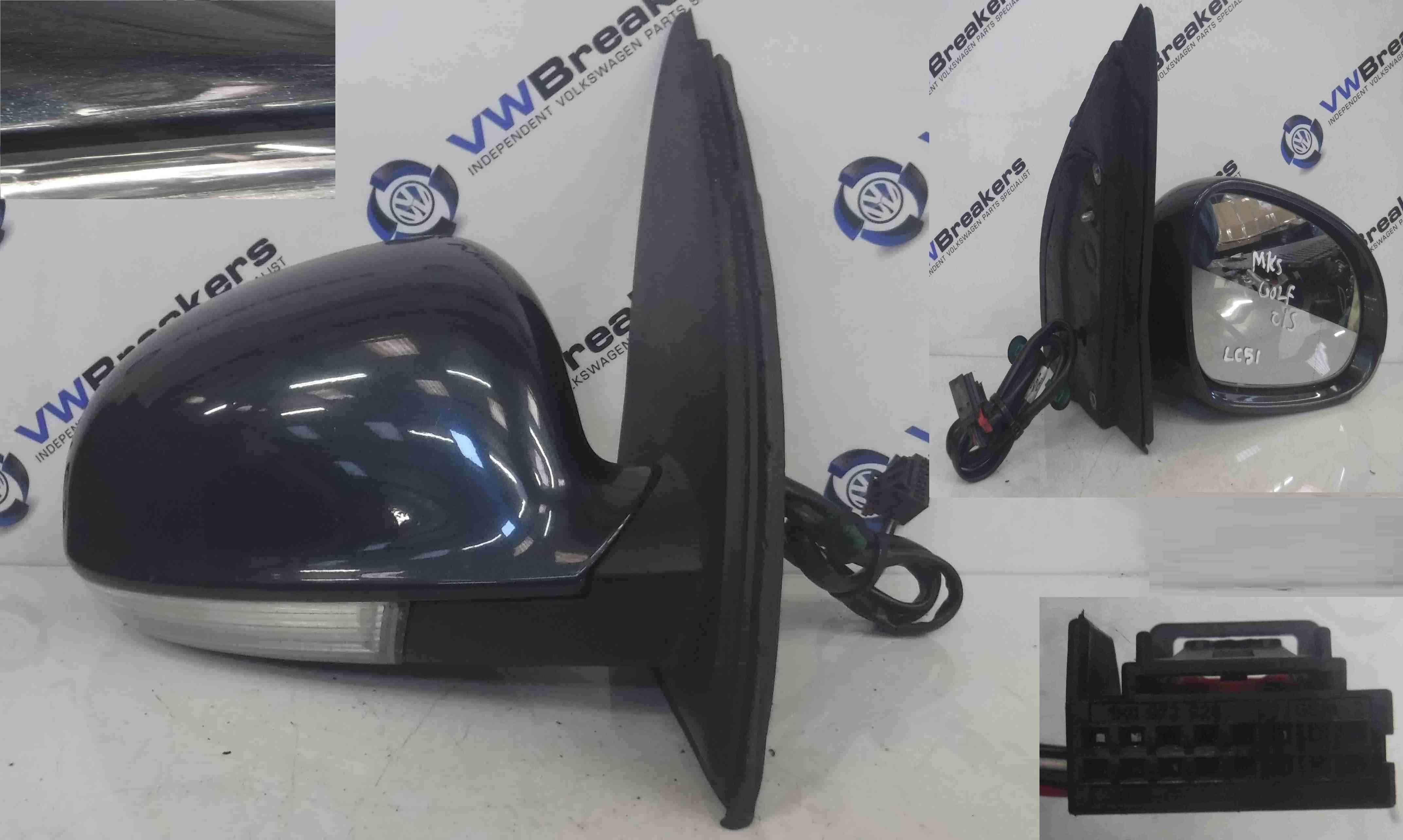 Volkswagen Golf MK5 2003-2009 Drivers OS Wing Mirror Blue Grey LC5F