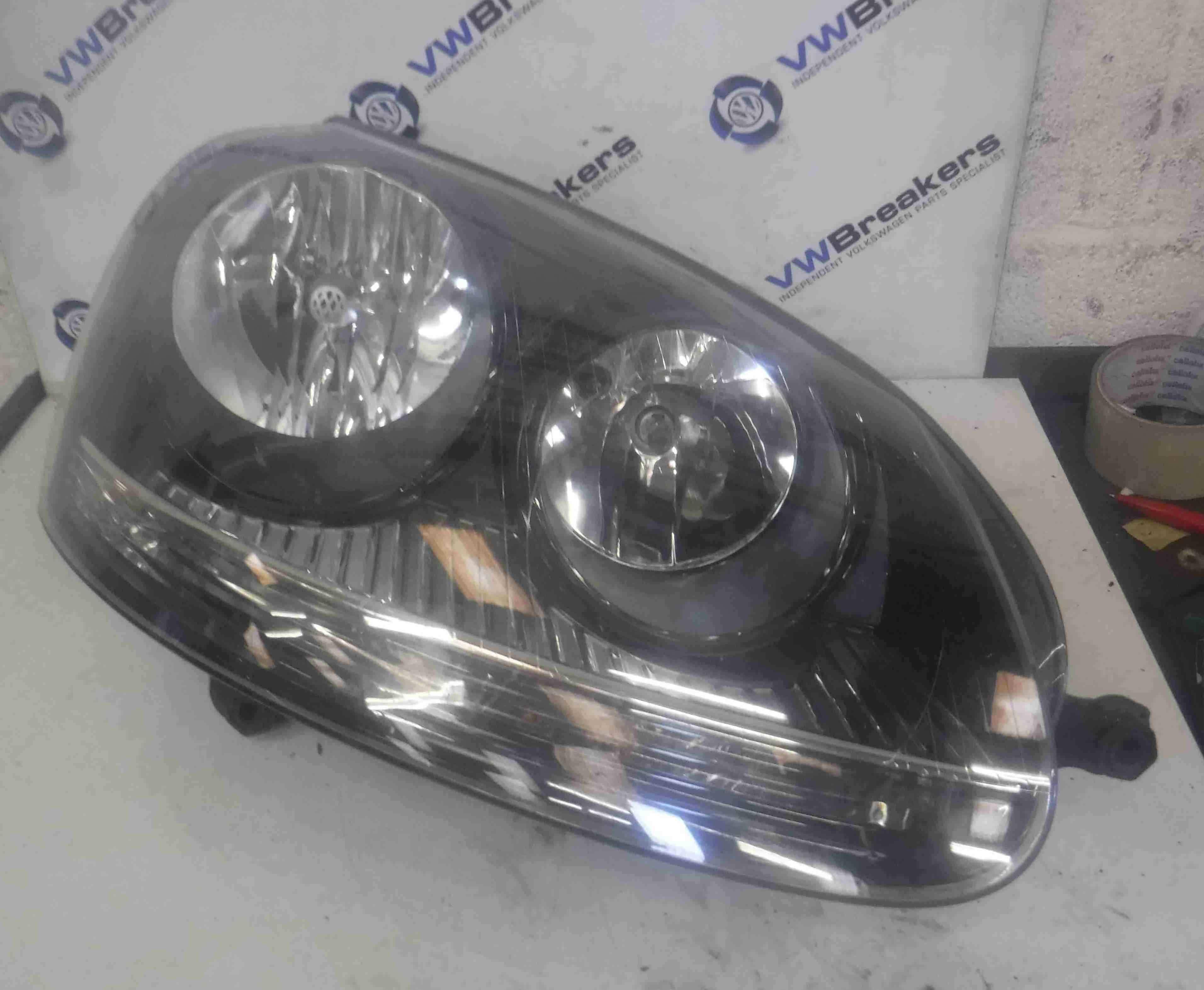 Volkswagen Golf MK5 2003-2009 Drivers OSF Front Headlight Black Backing