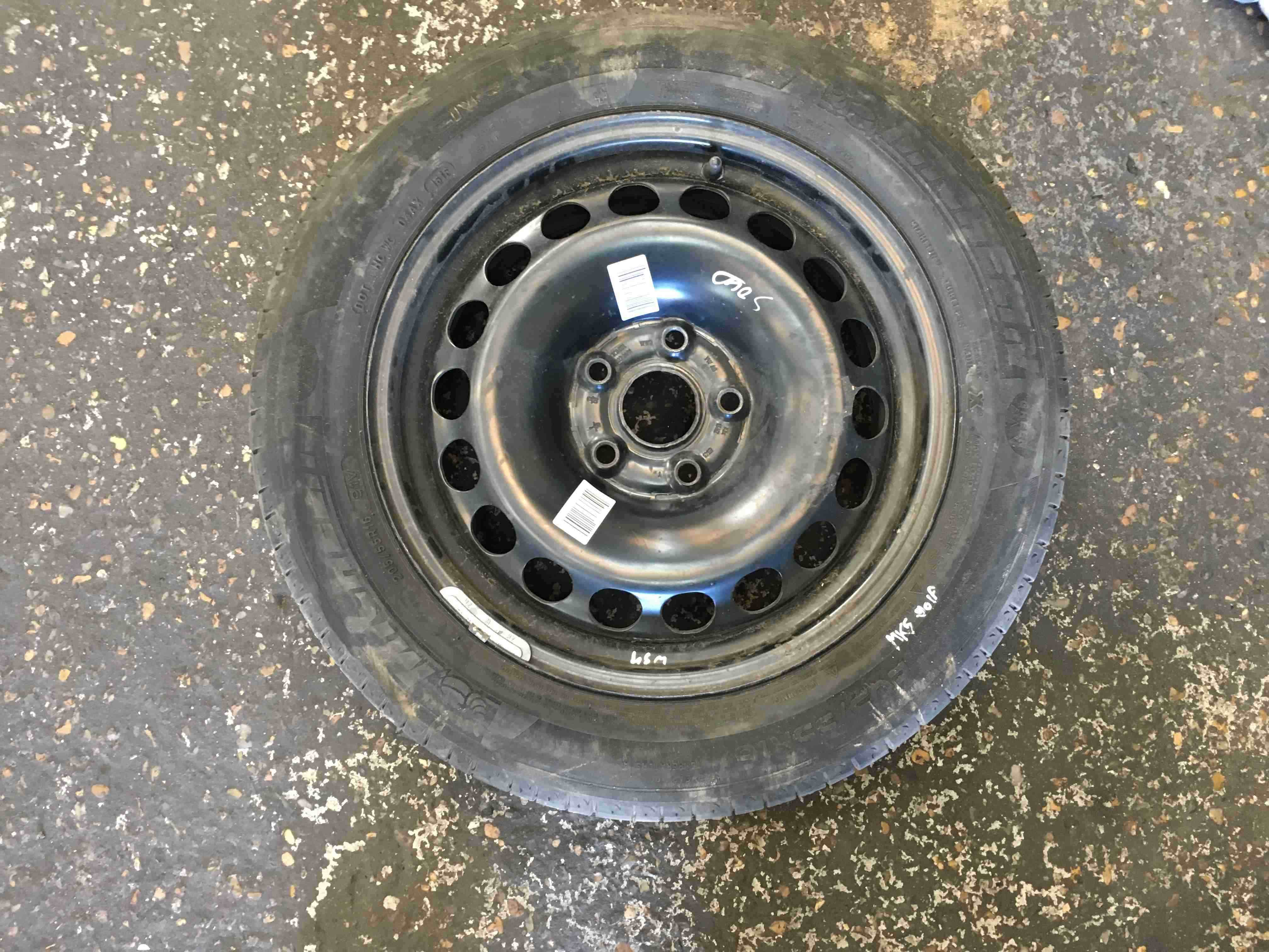Volkswagen Golf MK5 2003-2009 Steel Wheel Rim Spare + Tyre 205 65 15  5mm 3/5