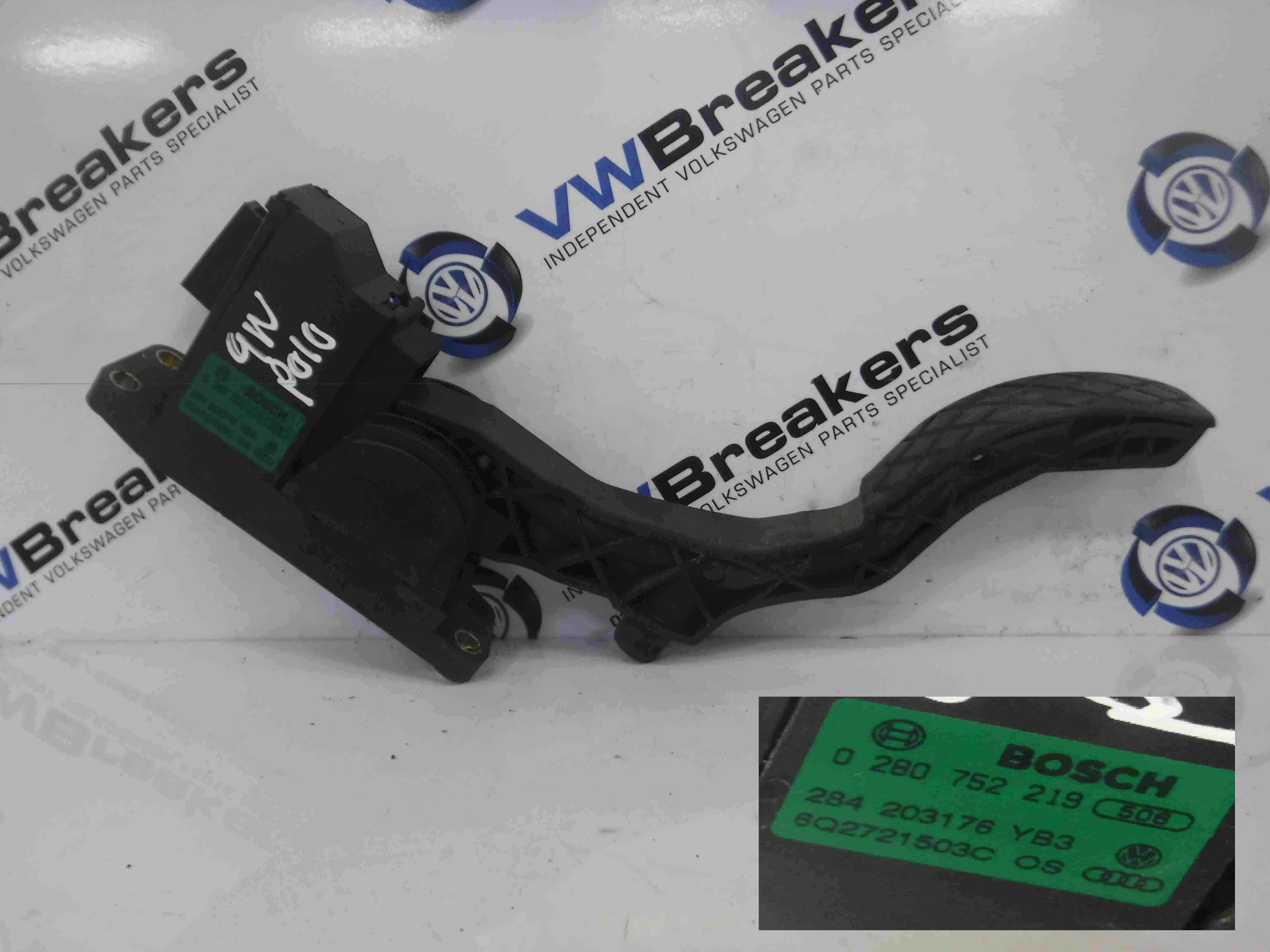 Volkswagen Polo 2003-2006 9N Accelerator Throttle Pedal 0280752219 6Q2721503G
