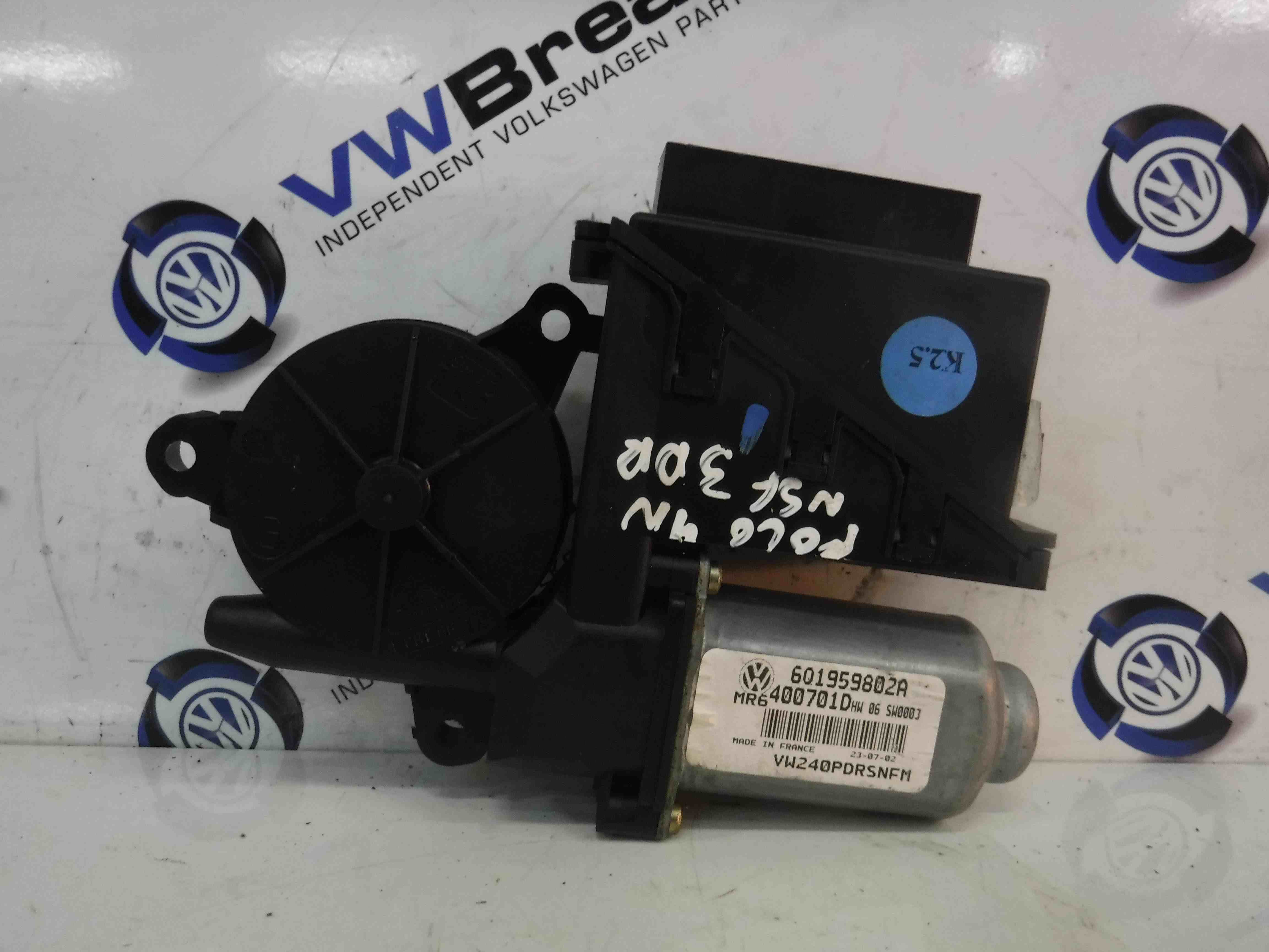 Volkswagen Polo 2003-2006 9N Passenger NSF Front Window Motor 6Q1959802A