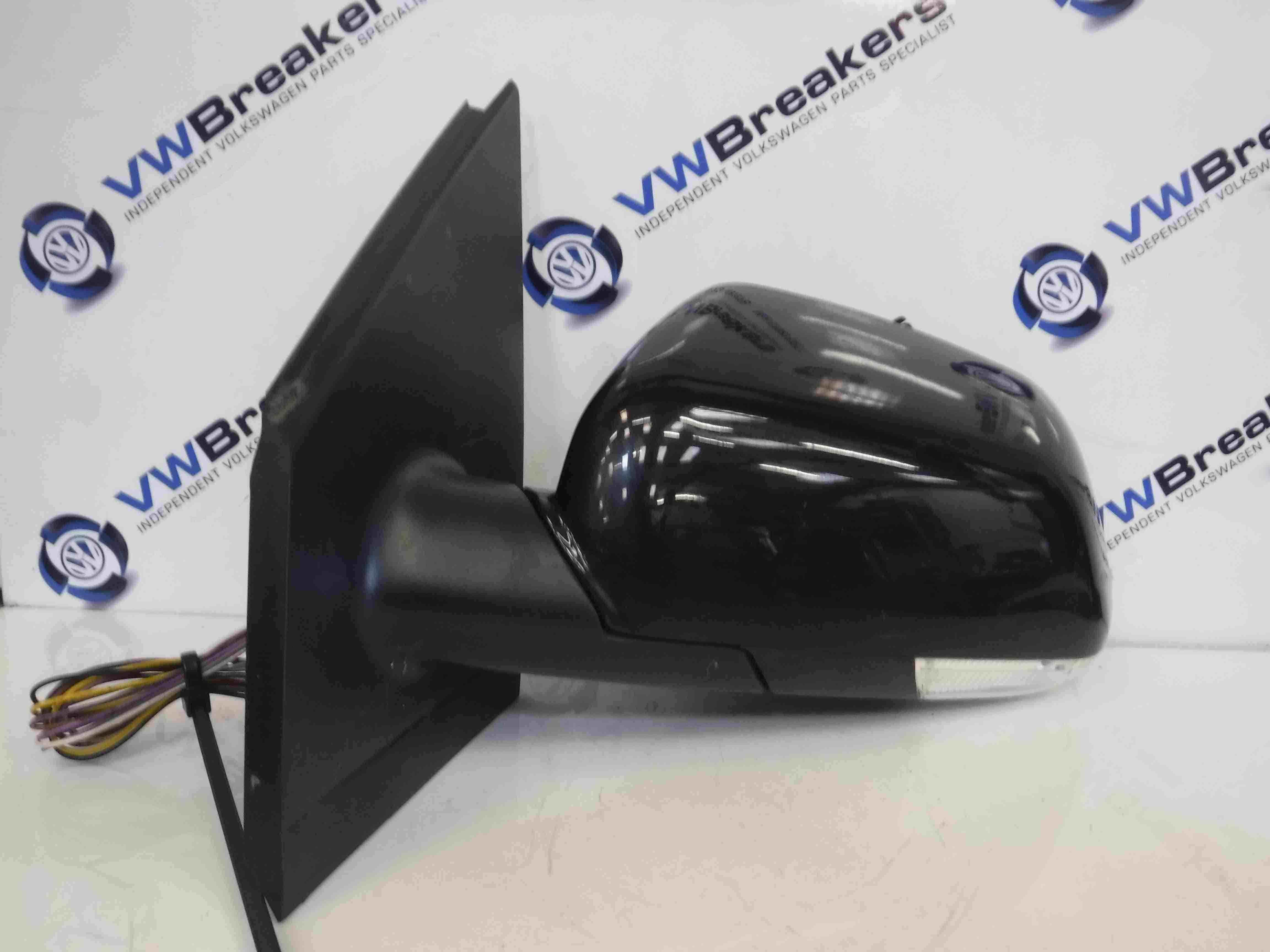 Volkswagen Polo 2006-2008 9N3 Passenger NS Wing Mirror Black LC9Z Electric