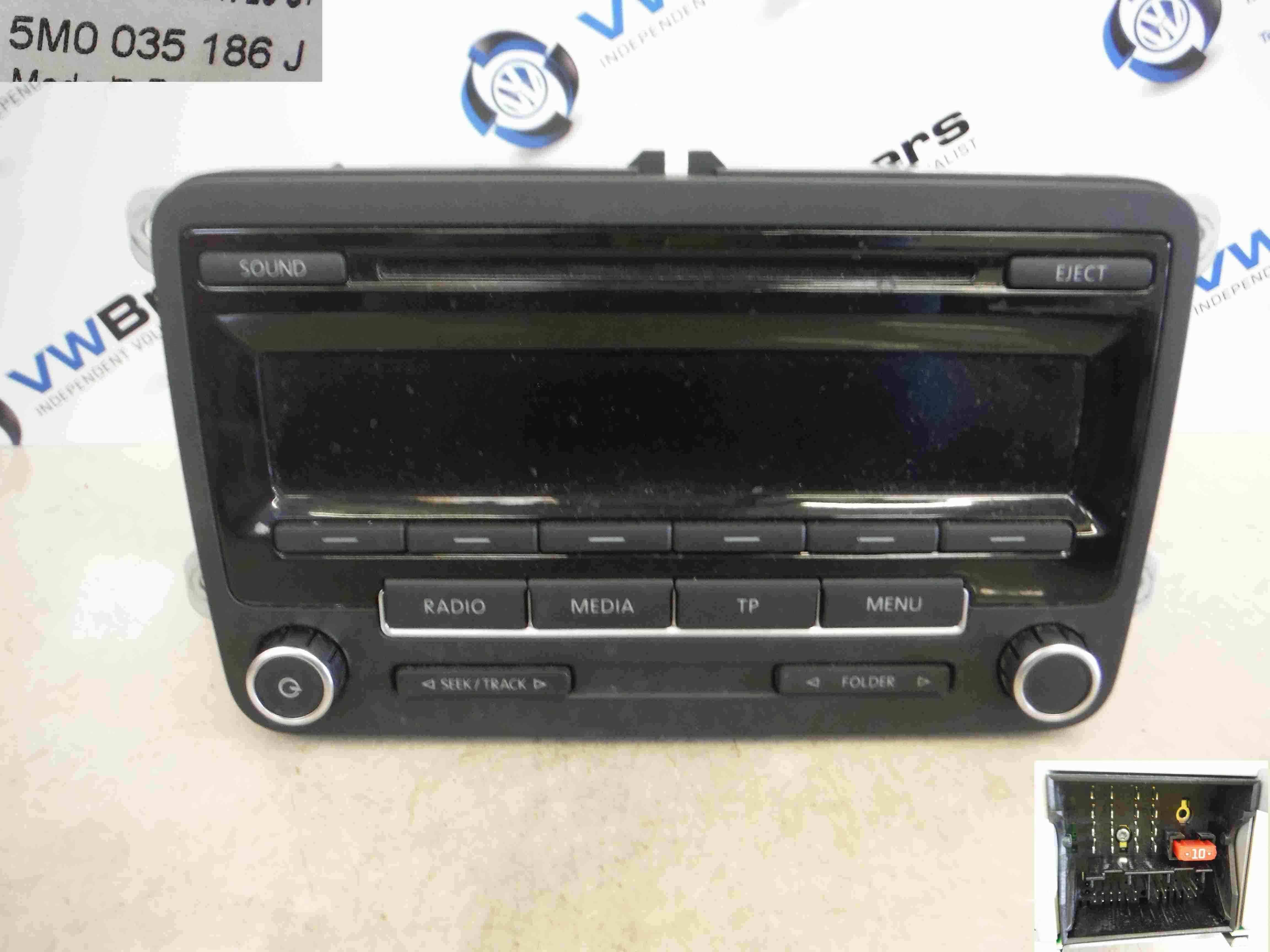 Volkswagen Polo 2009-2015 6R CD Player Radio Media Gloss Black 5M0035186J