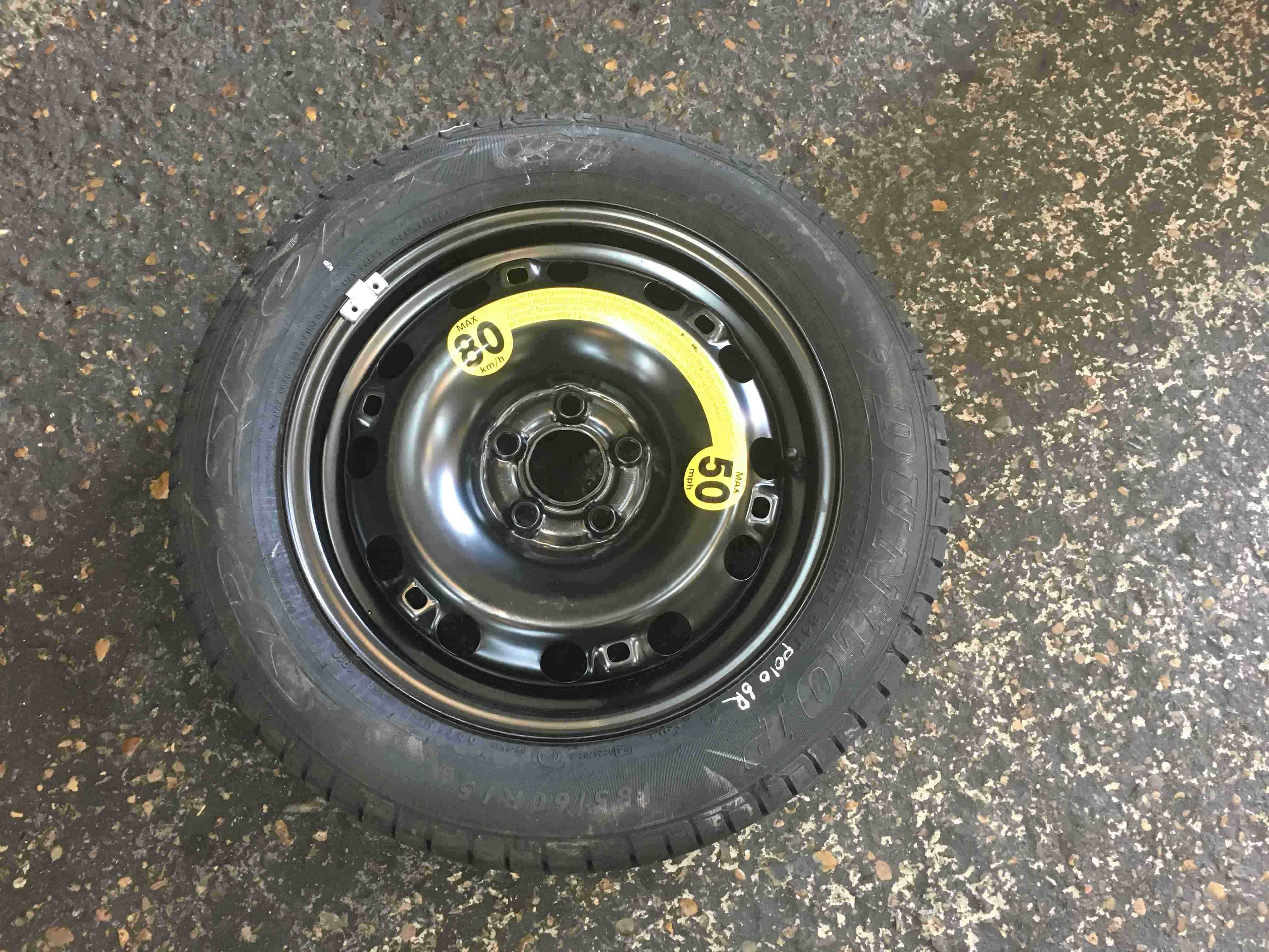 Volkswagen Polo 6R 2009-2014 Space Saver Spare Wheel 185 60 1.5 8mm 5/5