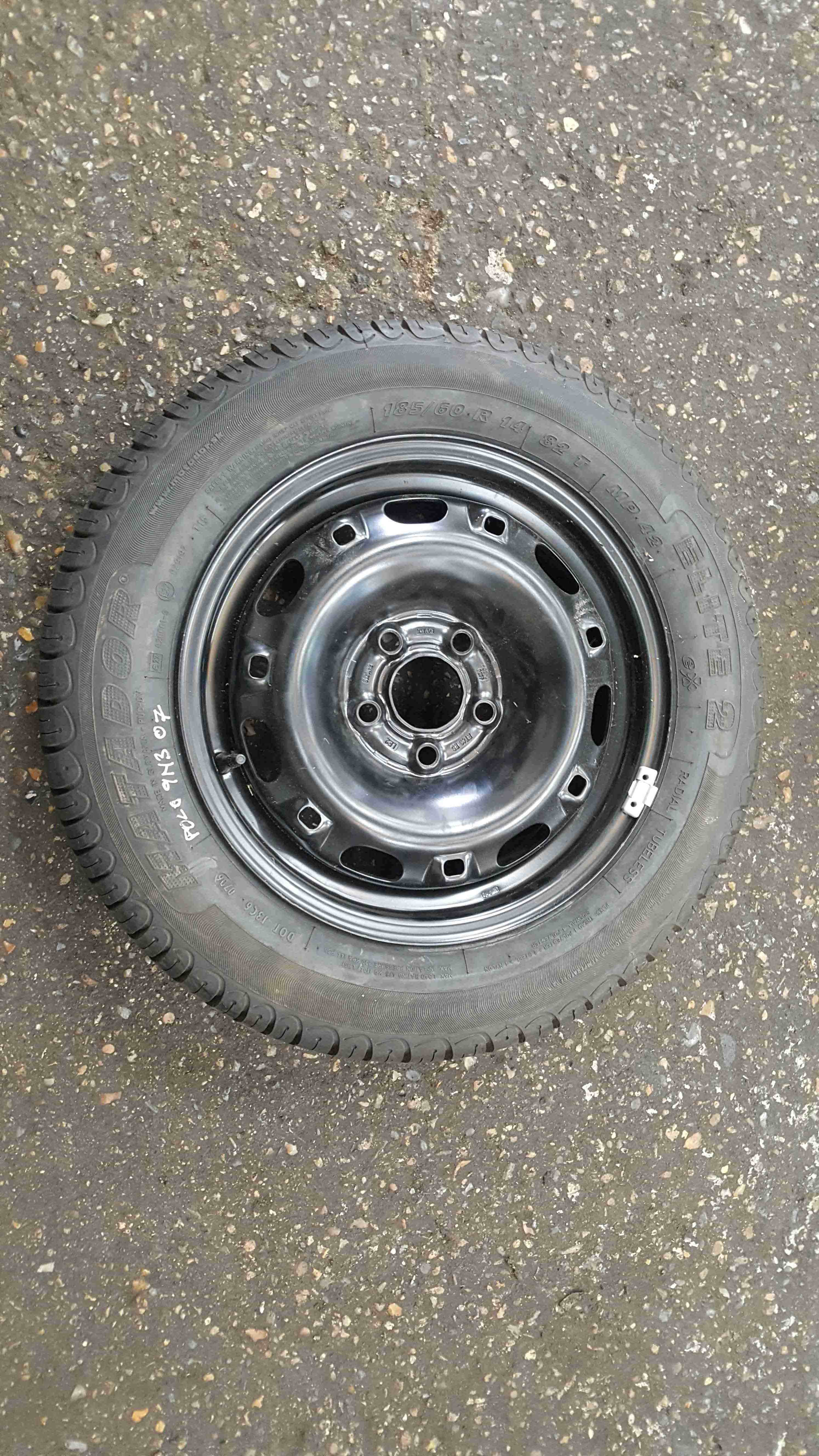 Volkswagen Polo 9N3 2006-2008 Steel Wheel Rim + Tyre 185 60 14 8mm 4/5