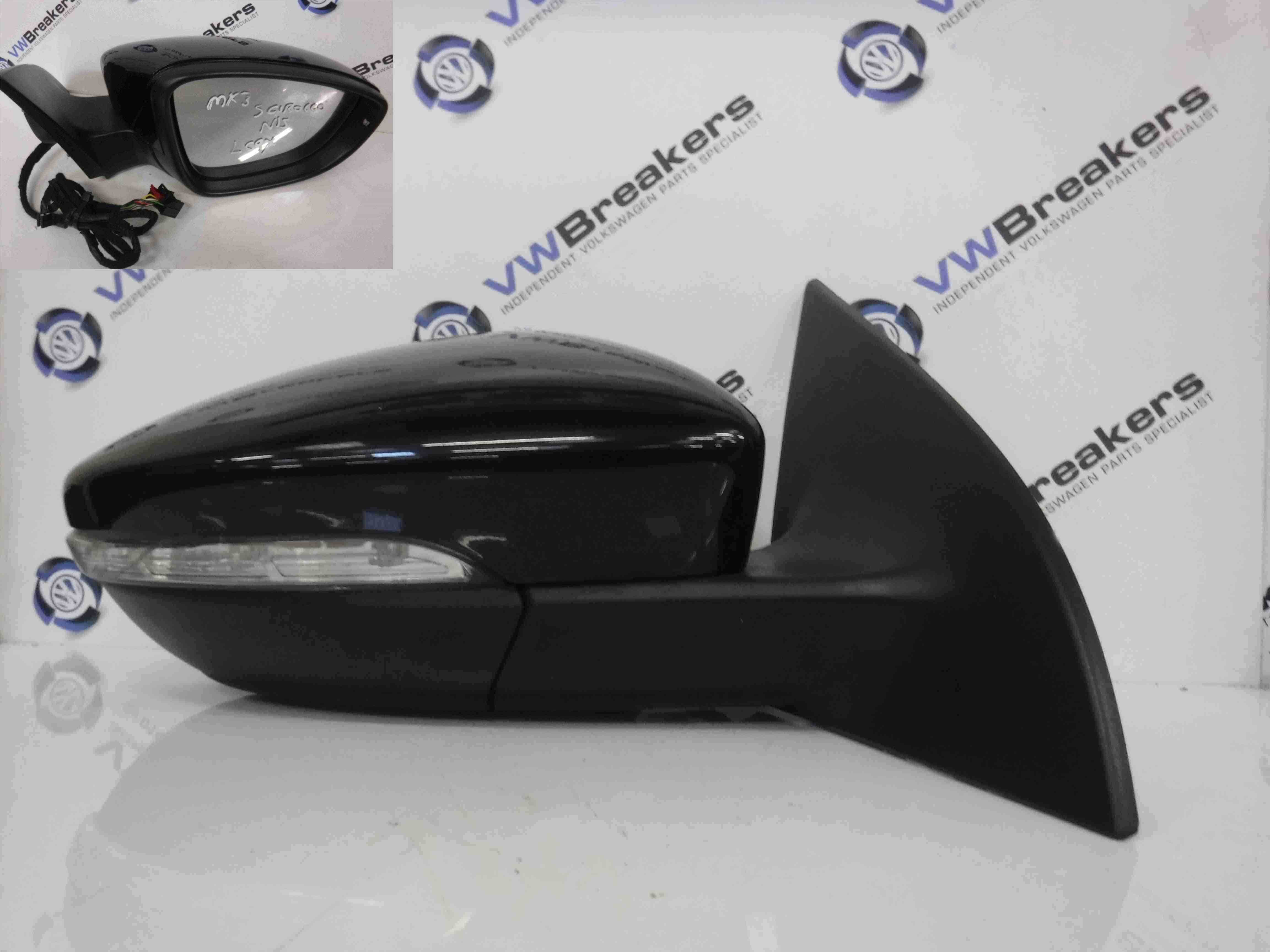 Volkswagen Scirocco 2008-2016 Drivers OSF Front Wing Mirror Black LC9X