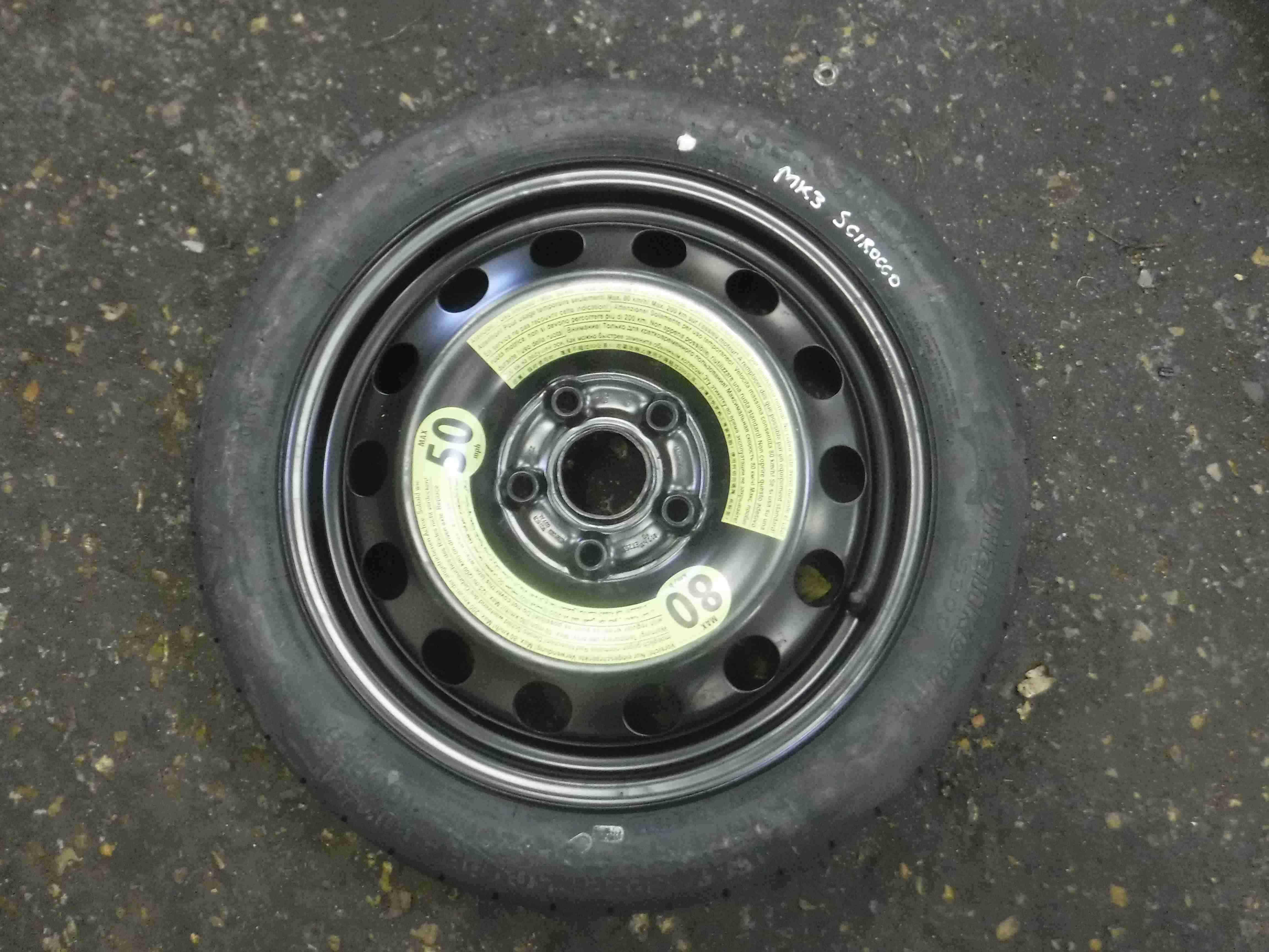 Volkswagen Scirocco 2008-2016 Spare Wheel Space Saver Steel